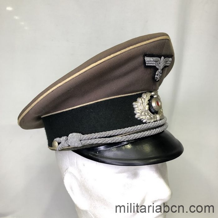 Germany III Reich. Wehrmacht Infantry Officer Tropical visor Cap. Very rare Wehrmacht Officer Tropical Cap. Marked Ersklassig, manufactured by Clemens Wagner.