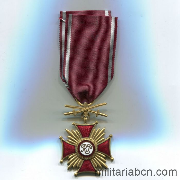 Republic of Poland. Cross of Merit 1923. Gold version. With swords. World War II Medal