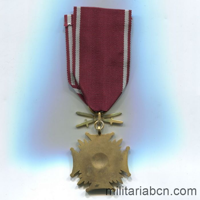 Republic of Poland. Cross of Merit 1923. Gold version. With swords. World War II Medal back