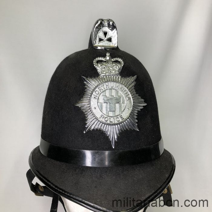 UK. Police Helmet, Bobby, Northumbria Police. 2000s. English police helmet
