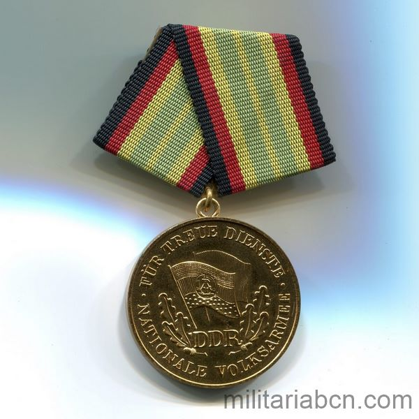 DDR Medal For Faithful Service in the National People's Army. Gold version. 15 years. Medaille für treue Dienste in der Nationalen Volksarmee ribbon