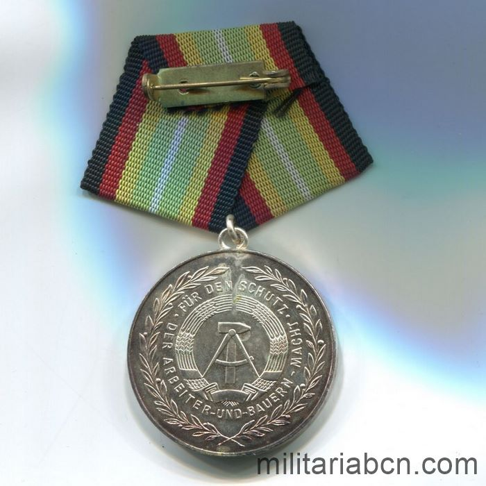 DDR. Medal For Faithful Service in the National People's Army NVA. Siver version. 100 years. Medaille für treue Dienste in der Nationalen Volksarmee. ribbon reverse