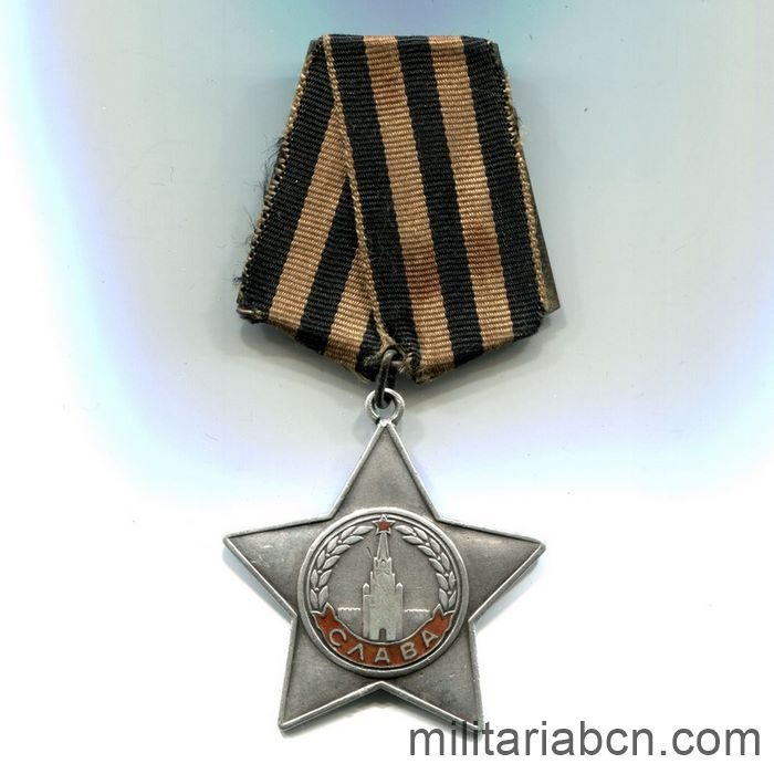 USSR Soviet Union. Order of Glory. 3rd Class. Option 10, Variation 2. Number # 795516 ribbon