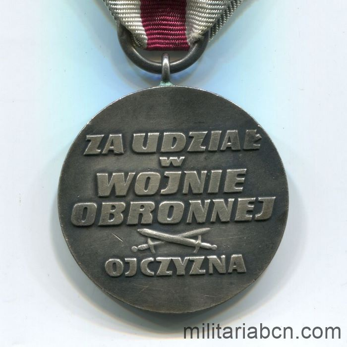 Poland. Medal for Participation in the Defensive War of 1939. reverse