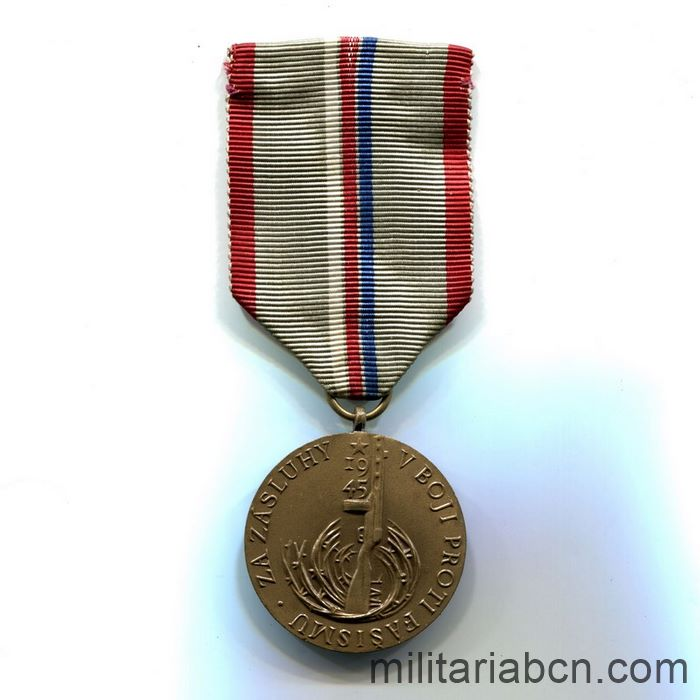 Czech Socialist Republic. 20th Anniversary Medal of the Victory against the Fascism 1945-65 ribbon