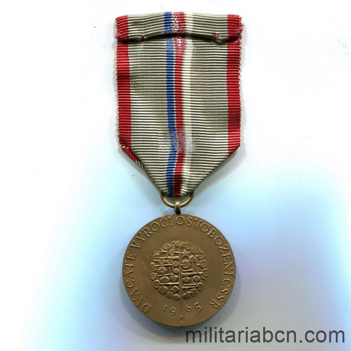 Czech Socialist Republic. 20th Anniversary Medal of the Victory against the Fascism 1945-65 ribbon reverse