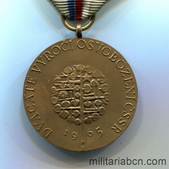 Czech Socialist Republic. 20th Anniversary Medal of the Victory against the Fascism 1945-65 reverse