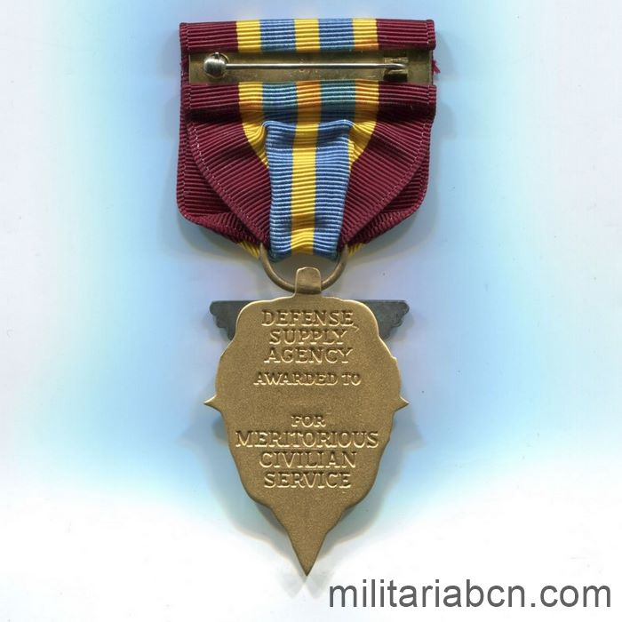 USA. Meritorious Civilian Service Award. Awarded by the Defense Supply Agency ribbon reverse
