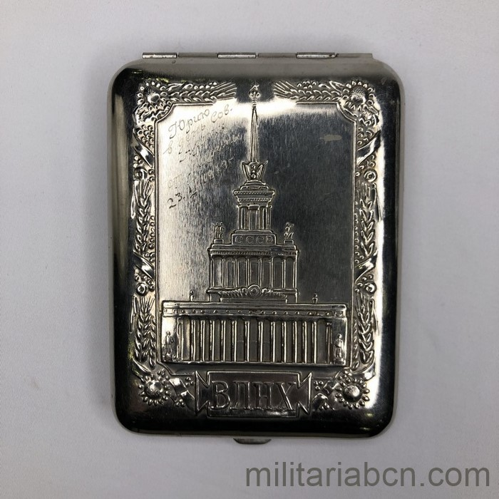 USSR Soviet Union. Soviet cigarette case with representation of the tower of the VDNH or VDNJ, Exhibition of the Achievements of the National Economy