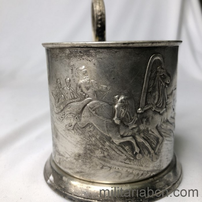 USSR Soviet Union. Soviet-era cup holder with the representation of a sleigh