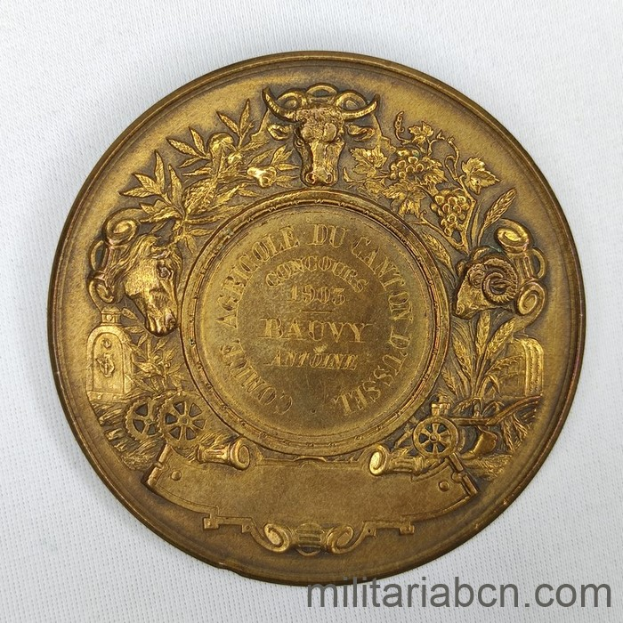 France. Medal of the Comice Agricole du Canton d'Ussel. Awarded to Antoine Bauvy in 1905.