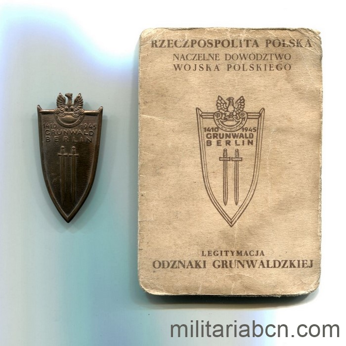 People's Republic of Poland. Grunwald Badge, Berlin. With award document, dated 1946 and signed