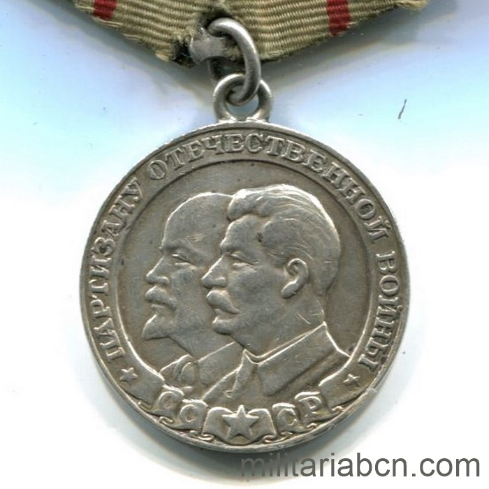 USSR Soviet Union. 1st Class Partisans Medal. Variant 2 and reverse type A.