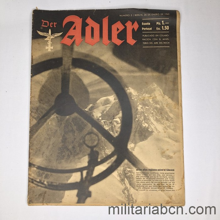 DER ADLER magazine, Luftwaffe publication. Text in Spanish and German. No. 2 January 1943.