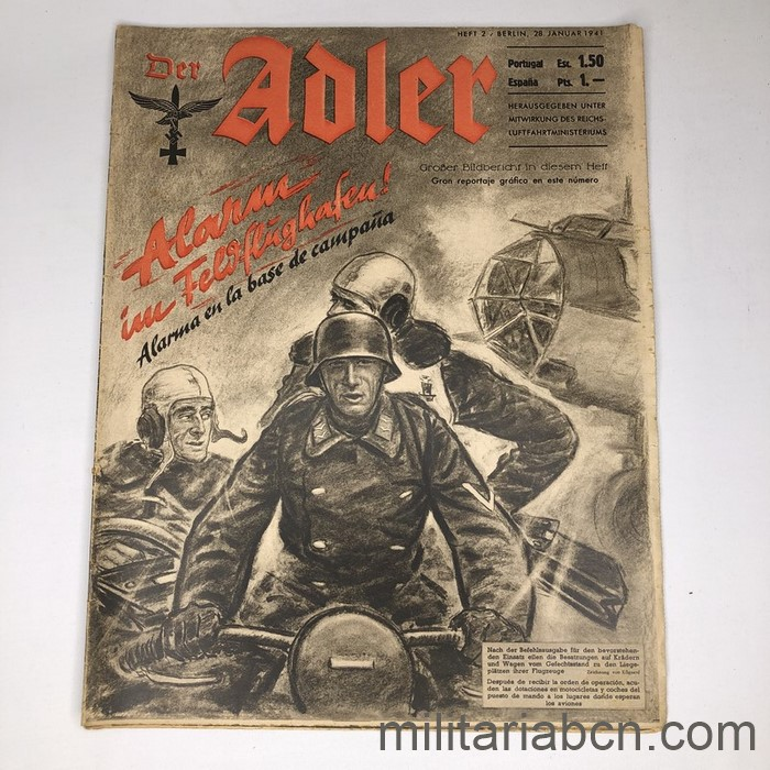 DER ADLER magazine, Luftwaffe publication. Text in Spanish and German. No. 2 January 1941.