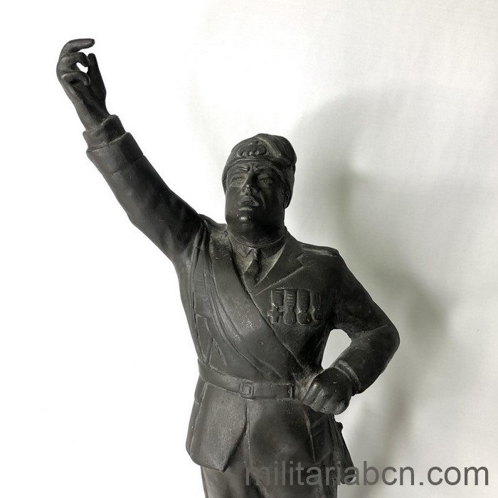 Fascist Italy. Figure of Benito Mussolini, Duce of Italy in bronze