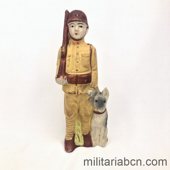 Japan. Figure of a Japanese soldier with dog. Ceramics. World War 2